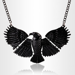 Wholesale Statement Necklaces Eagle - Fashion Animal Exaggerated Black Lacquered Eagle Pendants Statement Collar Choker Necklace Fine Jewellery Women Accessories PT34