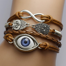 Wholesale Owls Infinity Bracelet - friendship infinity Bracelets Owls Evil eye Sideways Charm infinity Wristband girls christmas gift can pick up color