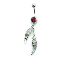 Wholesale Brand Belly Rings - Brand New Fashion Navel Rings Dangle Silver Plated Double Feather Belly Button Rings Body Piercing Jewelry