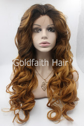 Wholesale Cheap Celebrity Lace Wigs - SF5 Cheap Wavy Blond Synthetic Lace Front Wig Glueless Ombre Kanekalon Celebrity Front Lace Wig Blonde