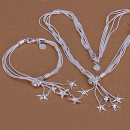 Wholesale starfish 925 silver jewelry - High grade 925 sterling silver Tai Chi hanging five starfish piece jewelry set DFMSS007 Factory direct 925 silver necklace bracelet
