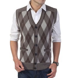 Wholesale Men S Sleeveless Sweaters - Fall-Autumn Men Knitted Sweater Woolen Vests Male Plaid Single Breasted Sleeveless Vests Cashmere Business Casual Waistcoats W117