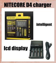 2019 carregador inteligente nitecore i4 Nitecore D4 Digicharger Display LCD Carregador de Bateria Universal Nitecore Carregador inteligente 4 em 1 carregador inteligente VS nitecore I4 dhl FJ139 carregador inteligente nitecore i4 barato