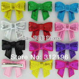 Wholesale Order Boutique Bows - Free Shipping 1000pcs lot Bulk Order 2'' Sequin Bow With Clips For DIY Crafting Supplies Boutique Hair Accssories