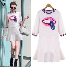 Wholesale Blouse Lips - Ladies Casual Dresses Chic Round Collar 3 4 Sleeve Lip Print Blouse Flounced Sundress Twinset For Women