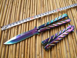 Wholesale Rainbow Rolls - MTech Butterfly Knife,Rainbow balisong butterfly knife,440C blade,Hot rolling handle