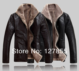 Wholesale Mens Big Fur Coat - Fall-Free shipping NEW winter mens fur collar genuine sheepskin leather jacket , Big yards warm leather coat parka 4XL,5XL
