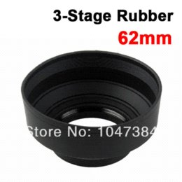 Wholesale 62mm Hood - 62mm 62 mm 3-in-1 3in1 3-Stage Position Rubber Collapsible Lens Hood for Canon Nikon Pentax Free Shipping