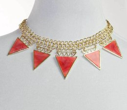 Wholesale Necklace Earrings Neon - Hot Neon Gold Tone Resin Triangle Bib Necklace With Earring Set order<$18 no tracking
