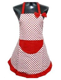Lindos delantales bolsillos online-Moda Hot Delicate Cute BowKnot Kitchen Restaurant Delantales de cocina con bolsillo para mujeres