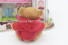 Wholesale Wholesale Cheap Plush Teddy Bears - Wholesale-10 pcs lot cheap christmas ornament plush toys christmas teddy bear lovers christmas gifts birthday gift