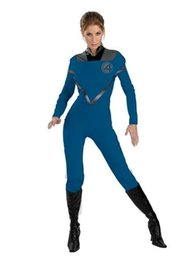 Wholesale Female Superheroes - Fantastic Four Invisible Woman Spandex Superhero Costume Halloween Party Cosplay ZenTai suit