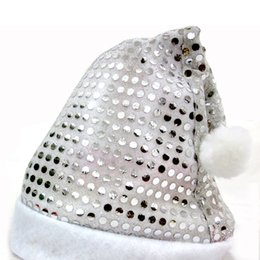 Wholesale Black Santa Hats - Wholesale-Free shipping New 3PCS Lot Christmas hat with silver Sequins headwear Decorations Santa Claus cap ornament xmas gift