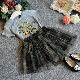 Wholesale Kid Girls Camouflage Shorts - Wholesale- 2016 hot summer new fashion girl short sleeve shirts + skirt suit camouflage clothing sets kids