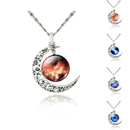 Wholesale Cosmic Black - 12 Colors New 45mm Silver Tone Crescent Star Moon Galactic Cosmic Glass Cabochon Pendant Necklace Fashion Jewelry
