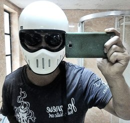 Wholesale White Motorcycle Helmet Full Face - Wholesale-Men motorcycle helmet TT & CO Japanese Thompson motorcycle helmet full face helmet Ghost Rider racing shiny helmet