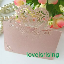 Wholesale Laser Place Cards - New Arrivals-Hot Sale-50pcs Pink Color Laser Cut Place Cards Wedding Name Cards For Wedding Party Table Decoration--Factory Directly Sell