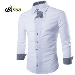 Wholesale double spell - Wholesale-Bingo 2016 M-XXL European & American Men's Double placket spell color plaid cotton casual men cultivating long-sleeved shirt