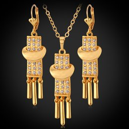 Wholesale Dangle Charms For Bracelet Necklace - 18K Gold Plated Charms Pendant Necklace Earrings Jewelry Set Rhinestone New Drop Dangle Vintage Jewellery For Women YS3089