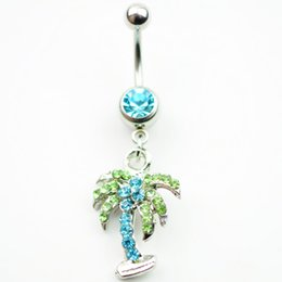 Wholesale imitation tree - D0154 ( 4 colors ) Belly Button Ring ,coconut tree PIERCING JEWELRY 14guage 5 8 BELLY BAR(10PCS LOT) JFSA-101