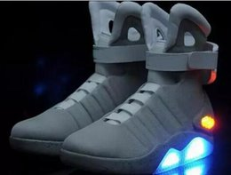 Wholesale Back Future Sneakers - Air Mag Sneakers Marty McFly's LED Shoes Back To The Future Glow In The Dark Gray Black Mag Marty Sneakers Top quality