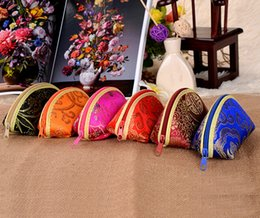 Wholesale Wholesale Mini Satin Gift Bags - 600pcs lot Chinese traditional silk wedding gift bag coin purse