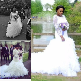 Wholesale Retro Size 14 - African Mermaid Wedding Dresses With Lace Appliques Illusion Long Sleeves Wedding Gowns Plus Size Tiered Tulle Long Retro Bridal Dress