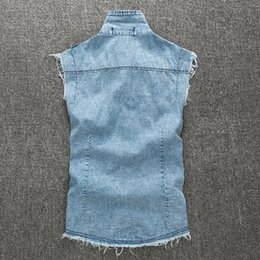 Wholesale Sexy Jean Jackets - Fall-2015 Summer Thin Sexy Designer Men's Denim Vest Sleeveless Blue Jean Jacket Vest For Men
