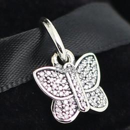Wholesale Cz Blue Pendant - 100% 925 Sterling Silver Butterfly Dangle Bead with Cz Fits European Pandora Jewelry Bracelets Necklaces & Pendants