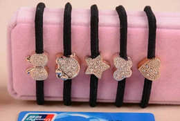 Wholesale Diamond Ponytail Holders - Girl Women Rubber Band Crystal Heart Cat Star Butterfly Black Elastic Ponytail Holders Hair Accessories Girl Women Rubber Band Mixed