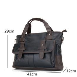Wholesale Laptop Briefcases For Men - New Business Bag Handbag Men Leather Laptop Bag For 13 inch Famous Men Briefcase Travel Crossbody Bags Large Capacity