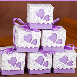 Wholesale Purple Wedding Gift Box Candy - Love gift box DIY Favor Holders Creative Style Polygon Wedding Favors Boxes Candies And Sweets Gift Box With Ribbon 6 Colors Choose