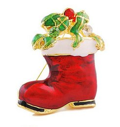 Wholesale Boot Glasses - Red Enamel Santa Claus Boot Wrapped Gifts Glass Stones Christmas Pin Brooch Shoes Gift For Christmas
