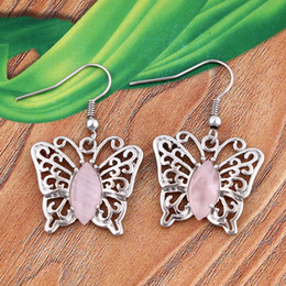 Wholesale Silver Butterfly Dangle Beads - Beautiful Marquise Rose Quartz Beads Natural Gem Stone Metal Butterfly Dangle Earrings Charm European Fashion Jewelry Women 10pairs lot