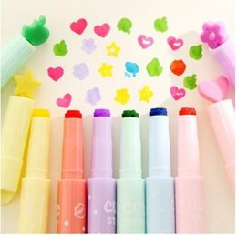 Wholesale Different Stamps - highlighter pen candy color marker pen can stamp different pattern stationery office school accessories supplies 6pcs lot ARC809