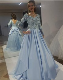 Wholesale Special Occasion Floral Gown - Long Sleeves Modest Elie Saab Evening Dresses 2018 Long Sleeves 3D Floral Appliques Sweep Train Light Blue Prom Party Special Occasion Gowns