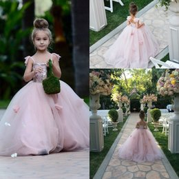 Wholesale Dress Kid Flora - Lovely Girls Flowers Dresses 2016 Blush Pink Spaghetti Tiers Tulle with 3D Flora Appliques Princess Kids Pageant Party Gowns Custom BA1419