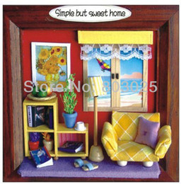 Wholesale Wooden Kids Picture Frames - Free Shipping Kids Assembly Hut Design Picture Frames DIY Simple But Sweet Home Children's Educational House Toys