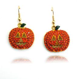 Orecchini d'oro arancioni online-Orecchini pendenti placcati oro moda ciondola orecchini strass arancio zucca per gioielli donna regali di halloween
