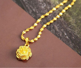Wholesale 24k Gold Necklace Heart - Beautiful Flower Pendant Fashion Woman Water Resistant 24K Gold Plated Stainless Steel Necklace Chain Gift