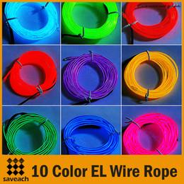 Canada 10 couleurs - 3M néon / rouge / jaune / vert / blanc / bleu / orange / violet lumière flexible tube de câble métallique EL avec contrôleur de décoration de fête de Noël cheap el wire purple Offre