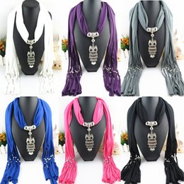 Wholesale Gold Gemstone Jewellery - Scarf Jewelry with Gemstone metal Pendant Scarves Tassel Alloy Jewelry scarf Jewellery Fashion Charms Necklace Mix Color E82L
