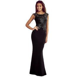 Wholesale Elegant Laces - Sexy Women Elegant Long Dress Lace Hollow Out Open Back Zipper Bodycon Prom Evening Mermaid Dress Ropa Mujer Black