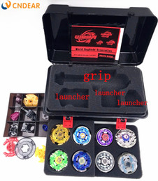Wholesale Metal Beyblade Parts - 4d Beyblade Set S Bb52 Top Metal Fight Spare Parts 8 Beyblades 1 Grip +3 Launchers Beyblade Box Boy Toys 2017