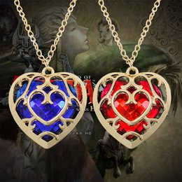 Wholesale legend zelda link - 2018 Fashion Jewelry The Zelda Legend Heart Shaped Crystal Necklace Alloy Gold Frame Love Hallow Necklaces & Pendants