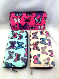Wholesale Ladies Wallets Butterflies - NEW Women Butterfly Oilcloth Zip Purse Wallet Large Lady Coin Handbag Organizer 6pcs lot Free shipping