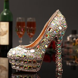 Wholesale Crystal Beaded Jeweled Shoes - Full crystal lady's formal shoes Jeweled Beaded Women's 14cm High Heels Beaded Bridal Evening Prom Party Wedding Dresses Bridesmaid Shoes