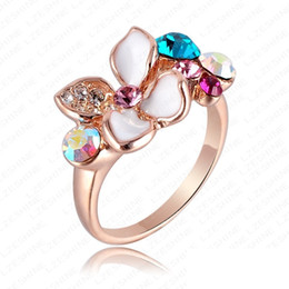 Wholesale Pave Flower - Fashion Women Wedding Ring Multicolor Austrian Crystals SWA Elements Rings18K Rose Gold Plate White Enamel Flower Ring NR009