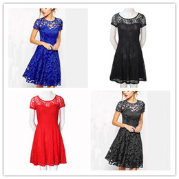 Wholesale adult sexy short skirts - Short Dress Women Lace Hook Flower Sexy Temperament Fashion Short Sleeves Fashion Slim Skirt Round Collar Elegant Cut Out Blue Formal Dress