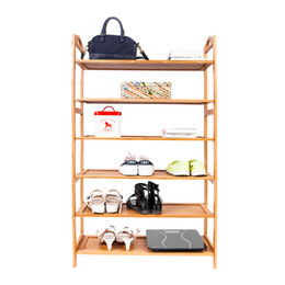 Wholesale Shoe Organizer Cabinet - 6-layer Portable Bamboo Board Shoe Rack Organizer Storage Cabinet Shelf Wood Color